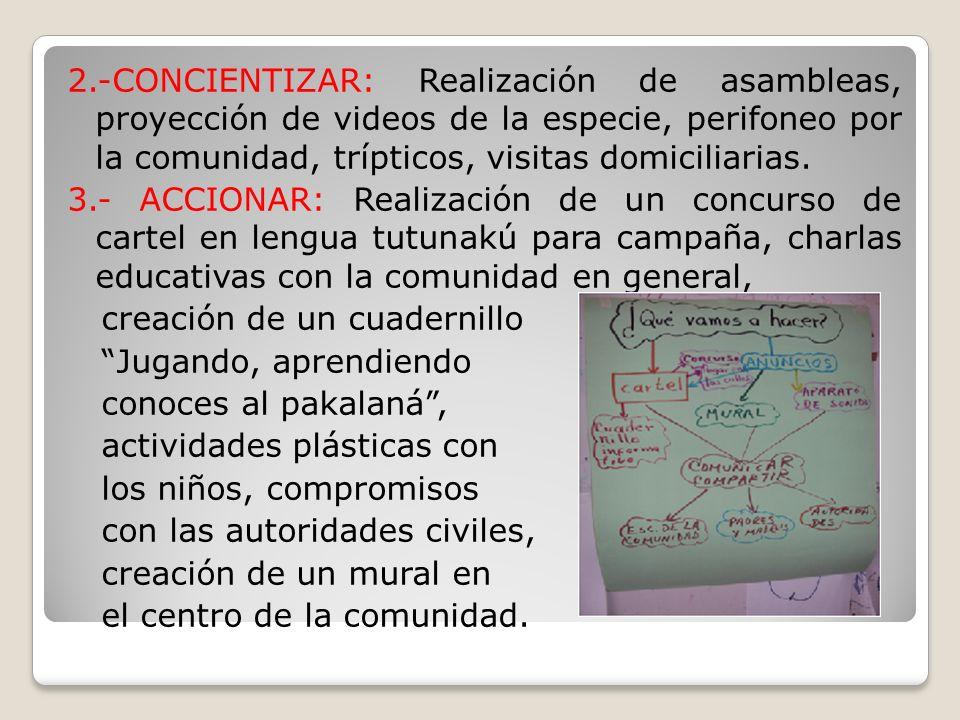 2.-CONCIENTIZAR: Realización de asambleas, proyección de videos de la especie, perifoneo por la comunidad, trípticos, visitas domiciliarias. 3.- ACCIO