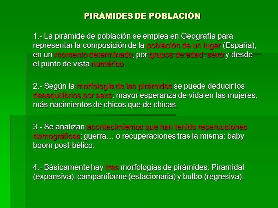 PIRÁMIDES DE POBLACIÓN PIRÁMIDES DE POBLACIÓN 1.- La pirámide de población se emplea en Geografía para representar la composición de la población de u