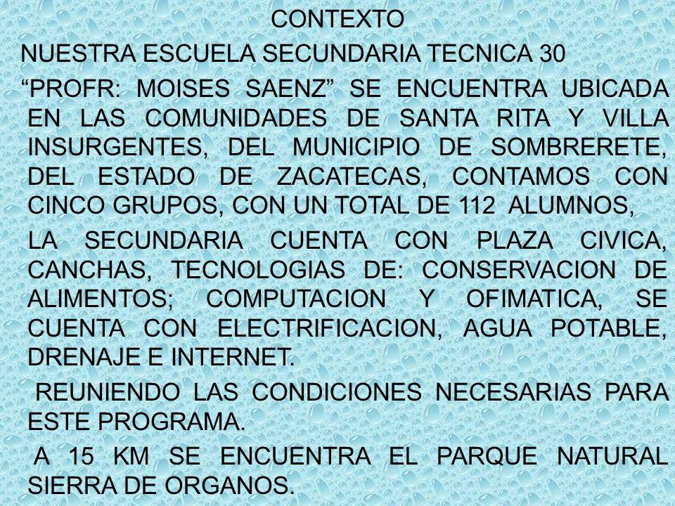CONTEXTO NUESTRA ESCUELA SECUNDARIA TECNICA 30 PROFR: MOISES SAENZ SE ENCUENTRA UBICADA EN LAS COMUNIDADES DE SANTA RITA Y VILLA INSURGENTES, DEL MUNI
