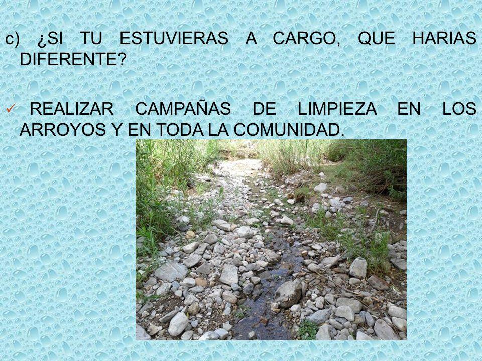 c) ¿SI TU ESTUVIERAS A CARGO, QUE HARIAS DIFERENTE? REALIZAR CAMPAÑAS DE LIMPIEZA EN LOS ARROYOS Y EN TODA LA COMUNIDAD.