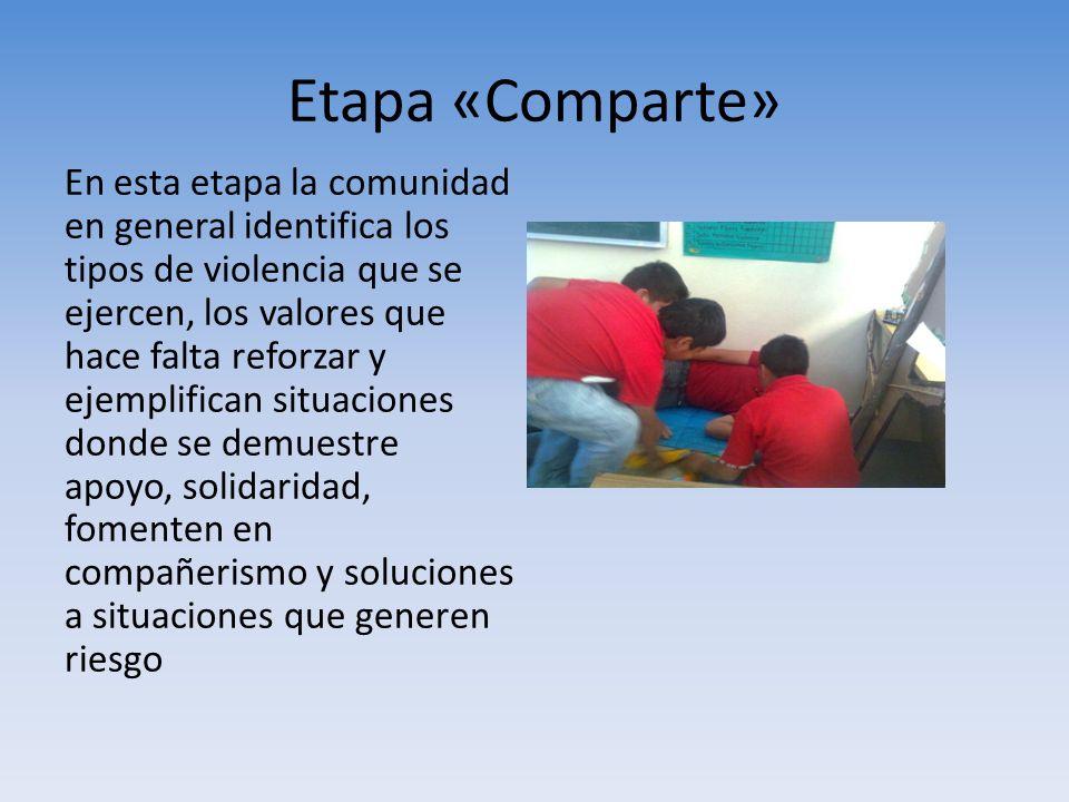 Etapa «Comparte» En esta etapa la comunidad en general identifica los tipos de violencia que se ejercen, los valores que hace falta reforzar y ejempli