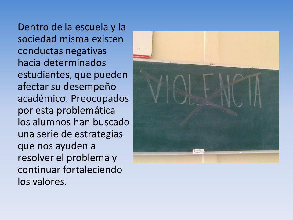 Dentro de la escuela y la sociedad misma existen conductas negativas hacia determinados estudiantes, que pueden afectar su desempeño académico. Preocu