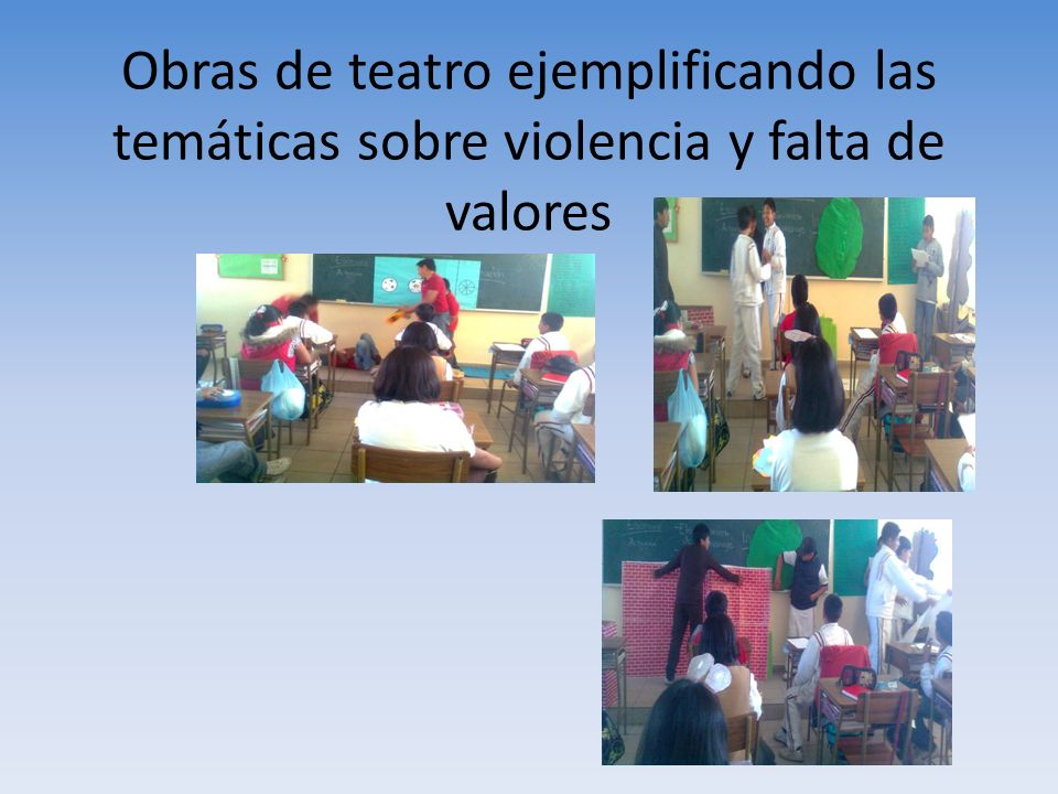 Obras de teatro ejemplificando las temáticas sobre violencia y falta de valores