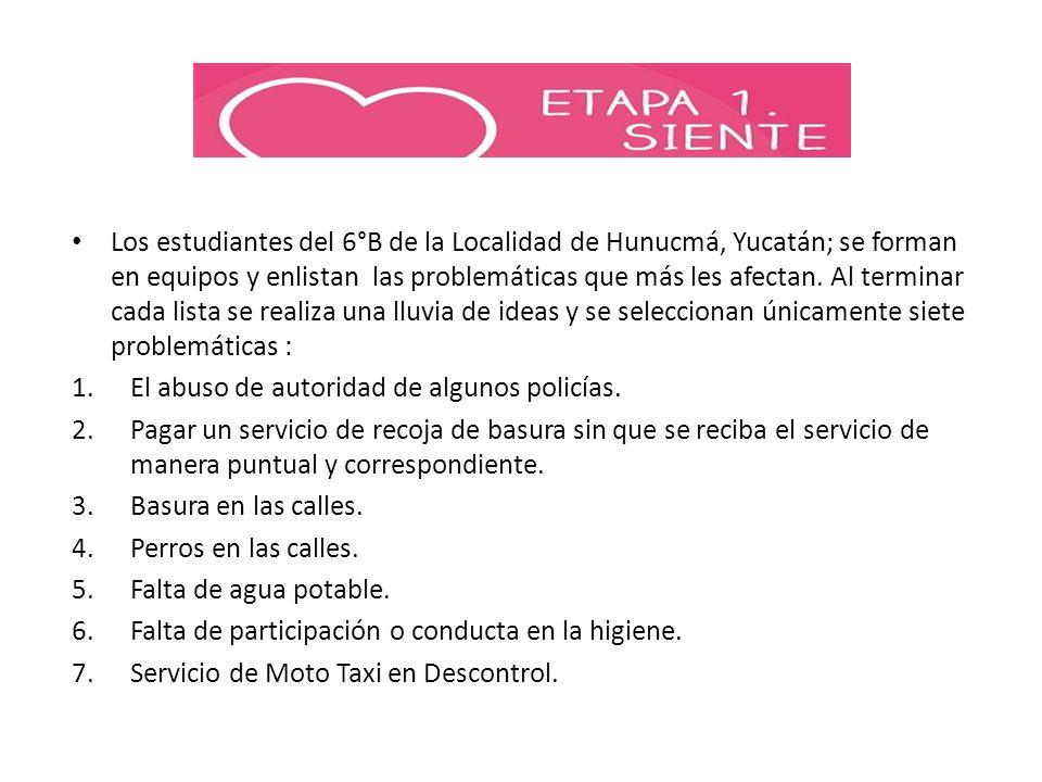 Los estudiantes del 6°B de la Localidad de Hunucmá, Yucatán; se forman en equipos y enlistan las problemáticas que más les afectan. Al terminar cada l