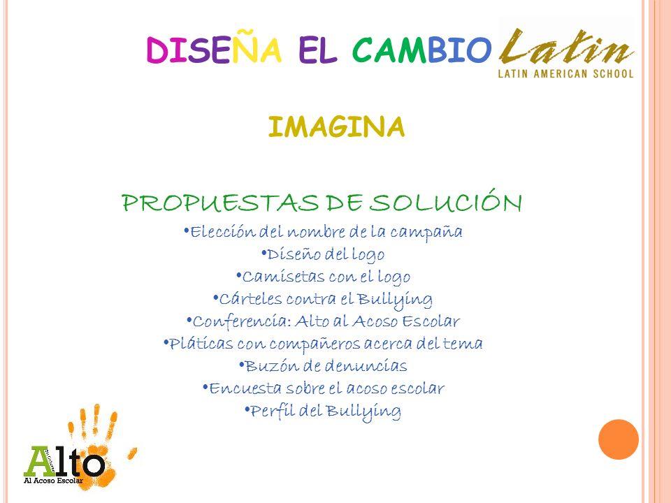 DISEÑA EL CAMBIO Conclusión: Este PROYECTO nos ayudó a tomar consciencia de la PROBLEMÁTICA que existe dentro de nuestro colegio acerca del BULLYING (Acoso Escolar) entre los alumnos.