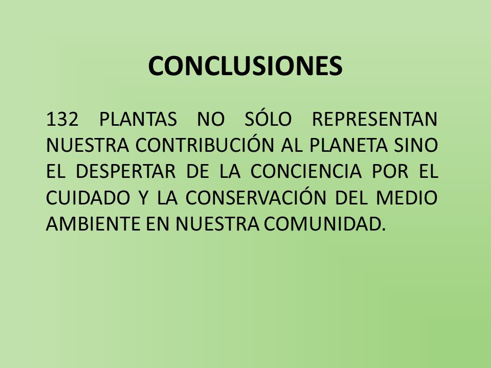CONCLUSIONES 132 PLANTAS NO SÓLO REPRESENTAN NUESTRA CONTRIBUCIÓN AL PLANETA SINO EL DESPERTAR DE LA CONCIENCIA POR EL CUIDADO Y LA CONSERVACIÓN DEL MEDIO AMBIENTE EN NUESTRA COMUNIDAD.