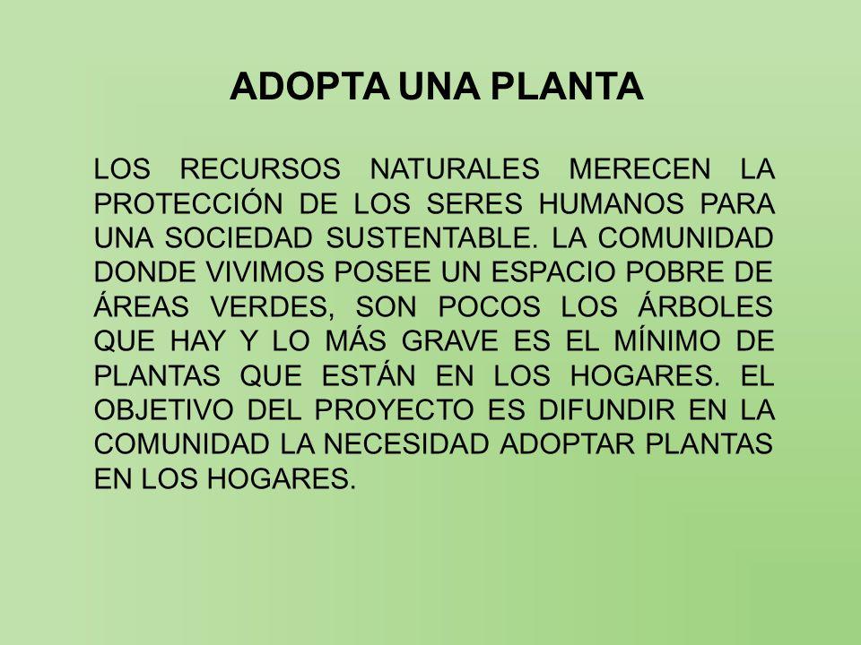 ADOPTA UNA PLANTA LOS RECURSOS NATURALES MERECEN LA PROTECCIÓN DE LOS SERES HUMANOS PARA UNA SOCIEDAD SUSTENTABLE. LA COMUNIDAD DONDE VIVIMOS POSEE UN