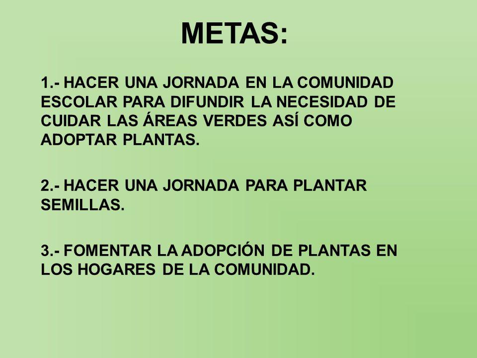 METAS: 1.- HACER UNA JORNADA EN LA COMUNIDAD ESCOLAR PARA DIFUNDIR LA NECESIDAD DE CUIDAR LAS ÁREAS VERDES ASÍ COMO ADOPTAR PLANTAS. 2.- HACER UNA JOR