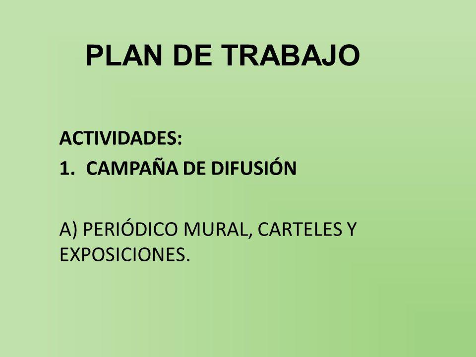 PLAN DE TRABAJO ACTIVIDADES: 1.CAMPAÑA DE DIFUSIÓN A) PERIÓDICO MURAL, CARTELES Y EXPOSICIONES.