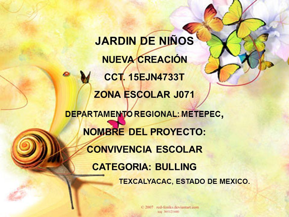 JARDIN DE NIÑOS NUEVA CREACIÓN CCT. 15EJN4733T ZONA ESCOLAR J071 DEPARTAMENTO REGIONAL: METEPEC, NOMBRE DEL PROYECTO: CONVIVENCIA ESCOLAR CATEGORIA: B