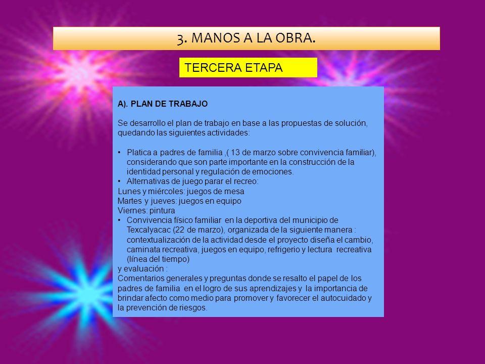 3. MANOS A LA OBRA. A). PLAN DE TRABAJO Se desarrollo el plan de trabajo en base a las propuestas de solución, quedando las siguientes actividades: Pl