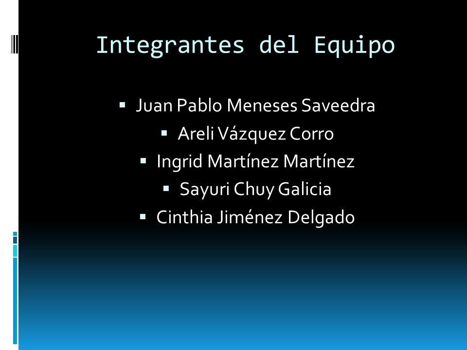 Integrantes del Equipo Juan Pablo Meneses Saveedra Areli Vázquez Corro Ingrid Martínez Martínez Sayuri Chuy Galicia Cinthia Jiménez Delgado