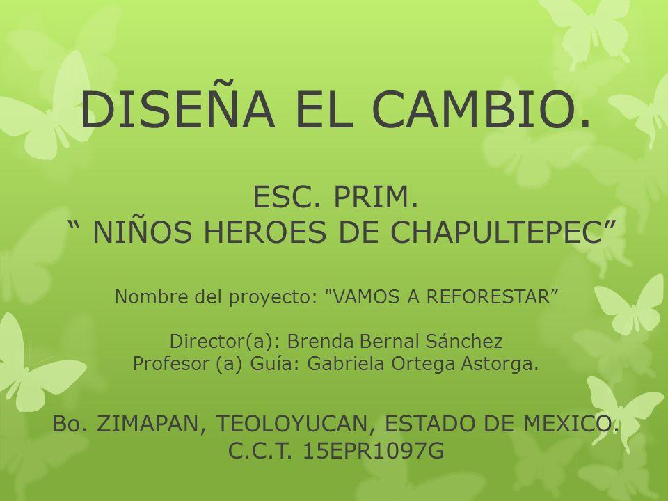 DISEÑA EL CAMBIO. ESC. PRIM. NIÑOS HEROES DE CHAPULTEPEC Nombre del proyecto: