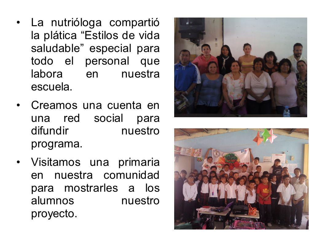 La nutrióloga compartió la plática Estilos de vida saludable especial para todo el personal que labora en nuestra escuela. Creamos una cuenta en una r