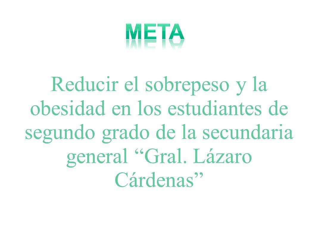Reducir el sobrepeso y la obesidad en los estudiantes de segundo grado de la secundaria general Gral. Lázaro Cárdenas