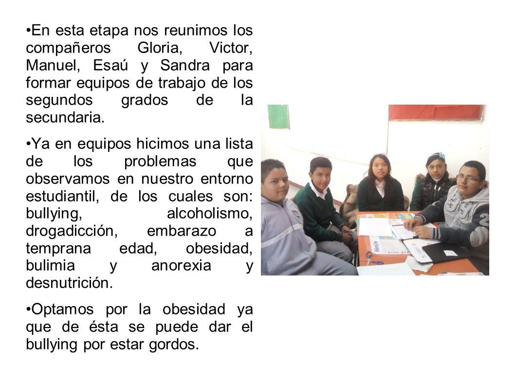 En esta etapa nos reunimos los compañeros Gloria, Victor, Manuel, Esaú y Sandra para formar equipos de trabajo de los segundos grados de la secundaria