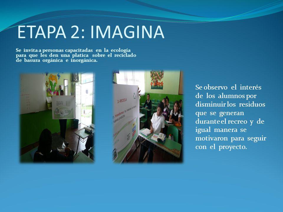 ETAPA 2: IMAGINA Se invita a personas capacitadas en la ecología para que les den una platica sobre el reciclado de basura orgánica e inorgánica. Se o