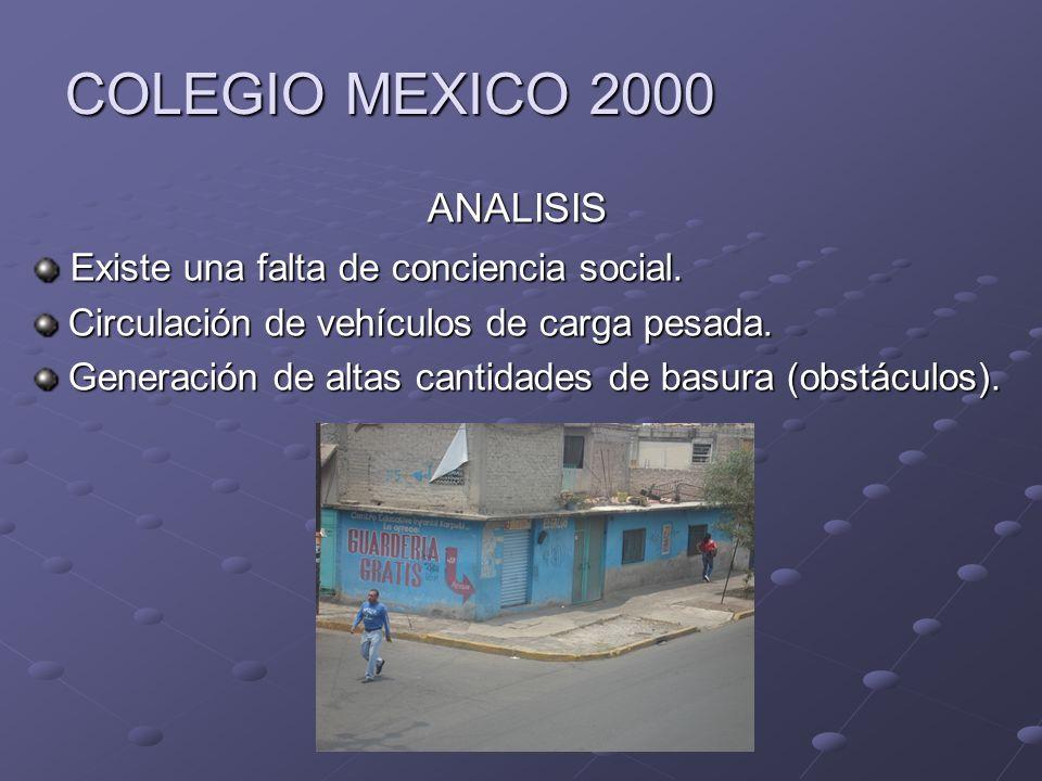 COLEGIO MEXICO 2000 ANALISIS Existe una falta de conciencia social. Existe una falta de conciencia social. Circulación de vehículos de carga pesada. C