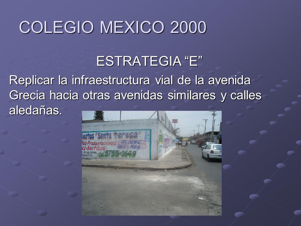 COLEGIO MEXICO 2000 ESTRATEGIA E Replicar la infraestructura vial de la avenida Grecia hacia otras avenidas similares y calles aledañas.