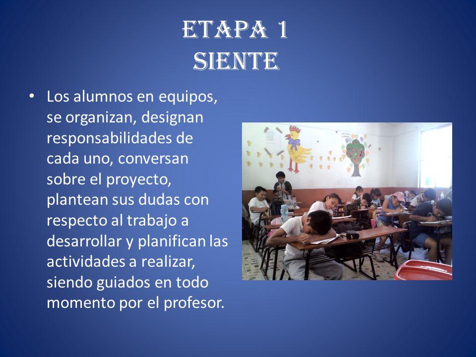 Etapa 1 Siente Los alumnos en equipos, se organizan, designan responsabilidades de cada uno, conversan sobre el proyecto, plantean sus dudas con respe