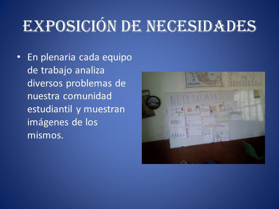 Exposición de Necesidades En plenaria cada equipo de trabajo analiza diversos problemas de nuestra comunidad estudiantil y muestran imágenes de los mi