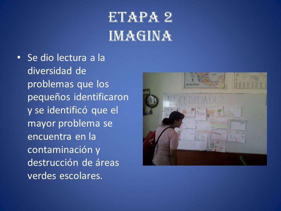 Etapa 2 Imagina Se dio lectura a la diversidad de problemas que los pequeños identificaron y se identificó que el mayor problema se encuentra en la co