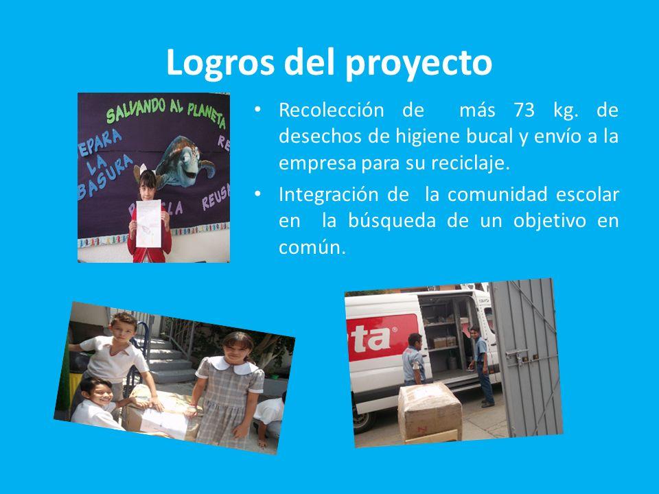 Logros del proyecto Recolección de más 73 kg. de desechos de higiene bucal y envío a la empresa para su reciclaje. Integración de la comunidad escolar