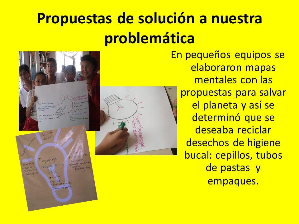 Propuestas de solución a nuestra problemática En pequeños equipos se elaboraron mapas mentales con las propuestas para salvar el planeta y así se dete