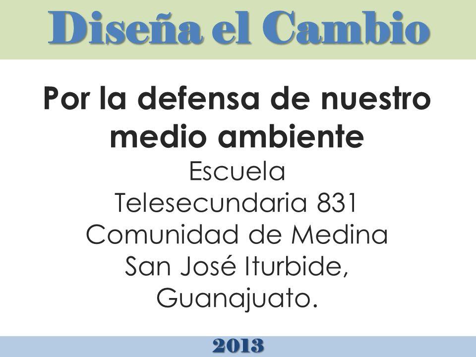 Diseña el Cambio 2013 Por la defensa de nuestro medio ambiente Escuela Telesecundaria 831 Comunidad de Medina San José Iturbide, Guanajuato.