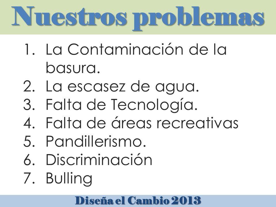 Nuestros problemas Diseña el Cambio 2013 1.La Contaminación de la basura.