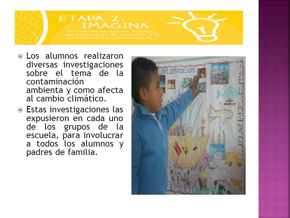 Los alumnos realizaron diversas investigaciones sobre el tema de la contaminación ambienta y como afecta al cambio climático. Estas investigaciones la