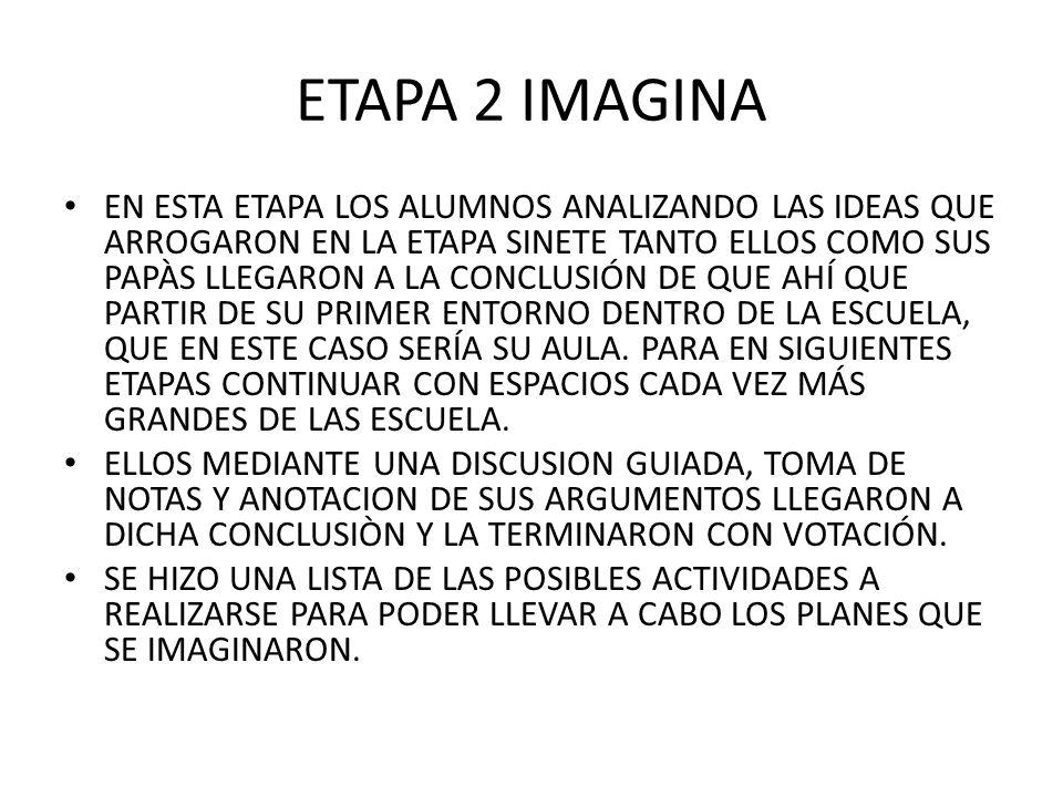 ETAPA 2 IMAGINA EN ESTA ETAPA LOS ALUMNOS ANALIZANDO LAS IDEAS QUE ARROGARON EN LA ETAPA SINETE TANTO ELLOS COMO SUS PAPÀS LLEGARON A LA CONCLUSIÓN DE