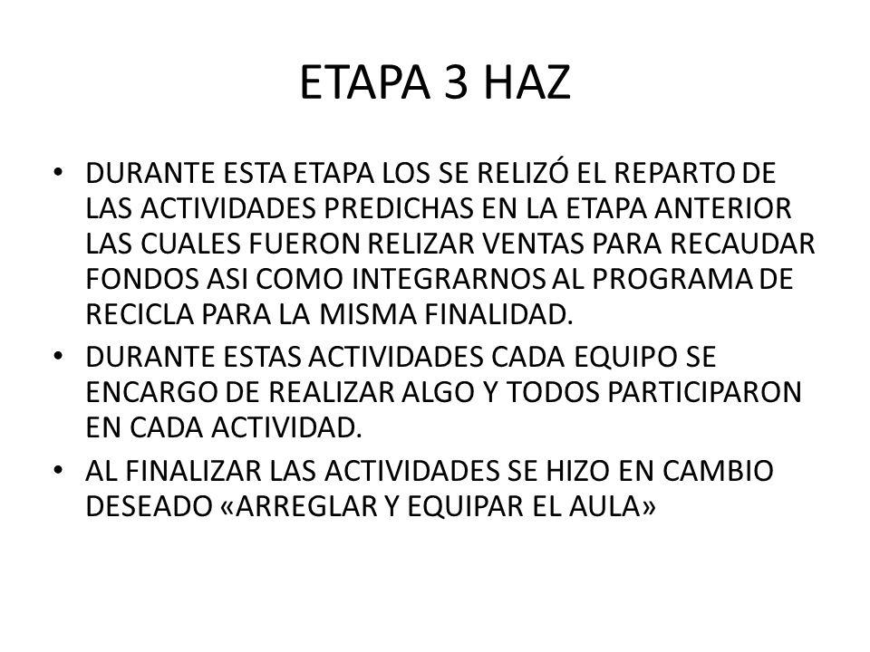 ETAPA 3 HAZ DURANTE ESTA ETAPA LOS SE RELIZÓ EL REPARTO DE LAS ACTIVIDADES PREDICHAS EN LA ETAPA ANTERIOR LAS CUALES FUERON RELIZAR VENTAS PARA RECAUD