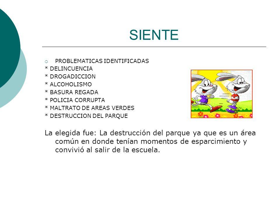 SIENTE PROBLEMATICAS IDENTIFICADAS * DELINCUENCIA * DROGADICCION * ALCOHOLISMO * BASURA REGADA * POLICIA CORRUPTA * MALTRATO DE AREAS VERDES * DESTRUC