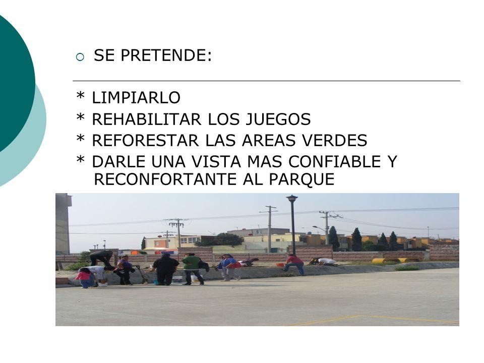 HAZ GESTIONAR ANTE LAS AUTORIDADES COMPETENTES LA DONACION DE ALGUNOS JUEGOS Y ARBOLES PARA LA REFORESTACION.