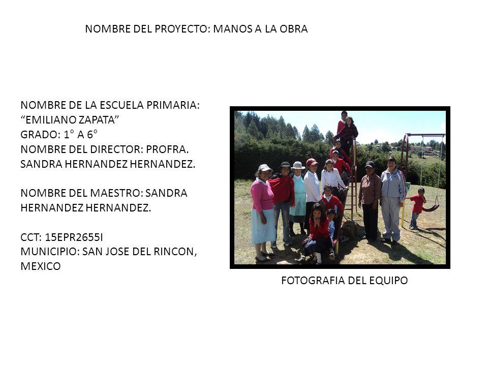 NOMBRE DE LA ESCUELA PRIMARIA: EMILIANO ZAPATA GRADO: 1° A 6° NOMBRE DEL DIRECTOR: PROFRA. SANDRA HERNANDEZ HERNANDEZ. NOMBRE DEL MAESTRO: SANDRA HERN