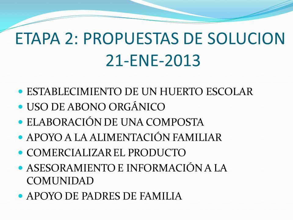 ETAPA 2: PROPUESTAS DE SOLUCION 21-ENE-2013 ESTABLECIMIENTO DE UN HUERTO ESCOLAR USO DE ABONO ORGÁNICO ELABORACIÓN DE UNA COMPOSTA APOYO A LA ALIMENTA