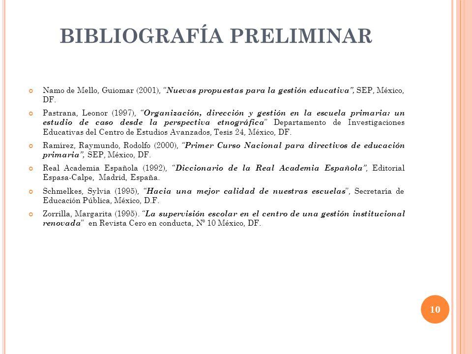 BIBLIOGRAFÍA PRELIMINAR Namo de Mello, Guiomar (2001), Nuevas propuestas para la gestión educativa, SEP, México, DF. Pastrana, Leonor (1997), Organiza