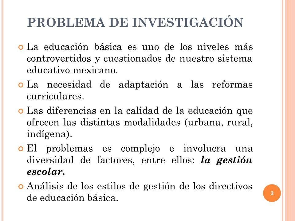 PREGUNTA DE INVESTIGACIÓN ¿Cuáles son los estilos de gestión escolar de los directores de educación básica.