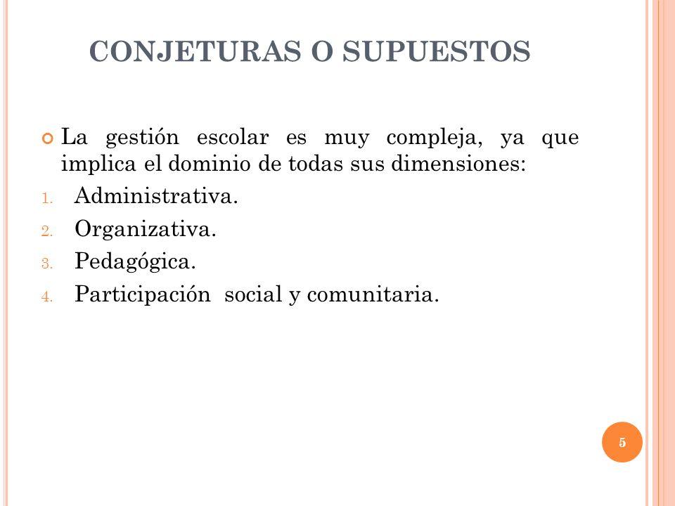 CONJETURAS O SUPUESTOS La gestión escolar es muy compleja, ya que implica el dominio de todas sus dimensiones: 1. Administrativa. 2. Organizativa. 3.
