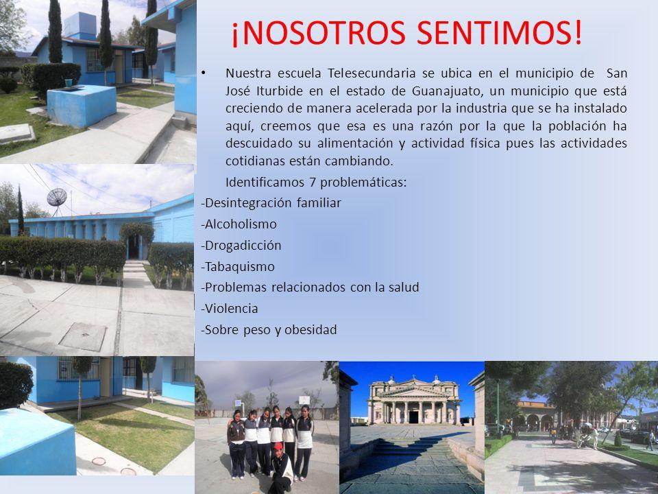 ¡NOSOTROS SENTIMOS! Nuestra escuela Telesecundaria se ubica en el municipio de San José Iturbide en el estado de Guanajuato, un municipio que está cre