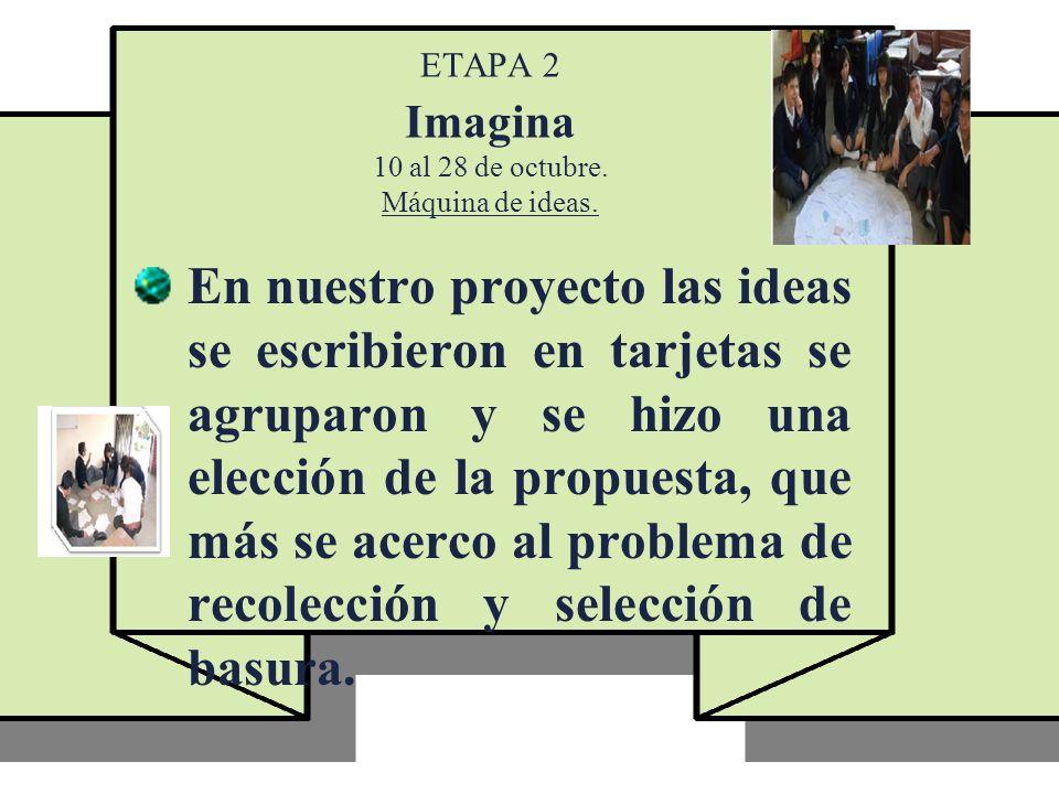ETAPA 2 Imagina 10 al 28 de octubre. Máquina de ideas. En nuestro proyecto las ideas se escribieron en tarjetas se agruparon y se hizo una elección de