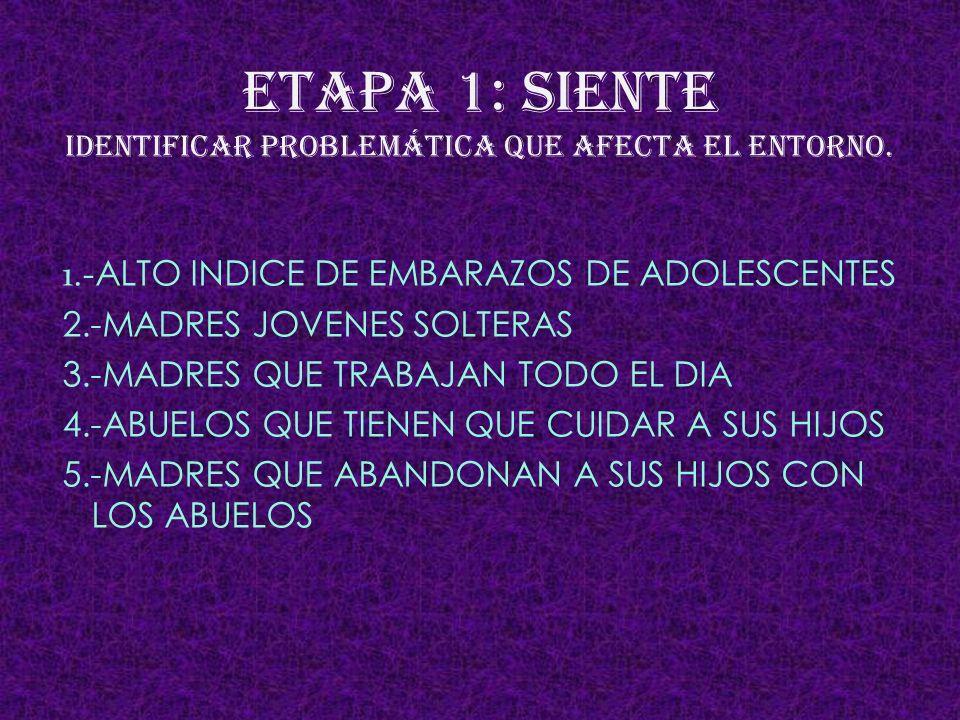 ETAPA 1: SIENTE IDENTIFICAR PROBLEMÁTICA QUE AFECTA EL ENTORNO.