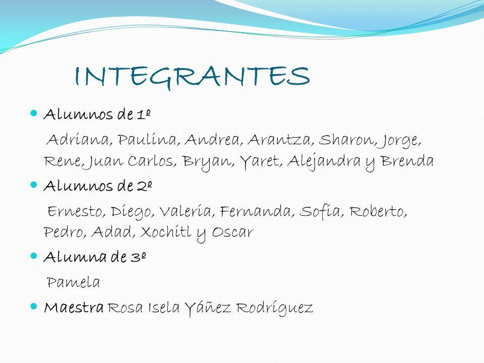 INTEGRANTES Alumnos de 1º Adriana, Paulina, Andrea, Arantza, Sharon, Jorge, Rene, Juan Carlos, Bryan, Yaret, Alejandra y Brenda Alumnos de 2º Ernesto,