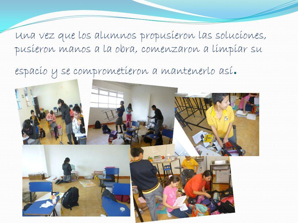 Una vez que los alumnos propusieron las soluciones, pusieron manos a la obra, comenzaron a limpiar su espacio y se comprometieron a mantenerlo así.