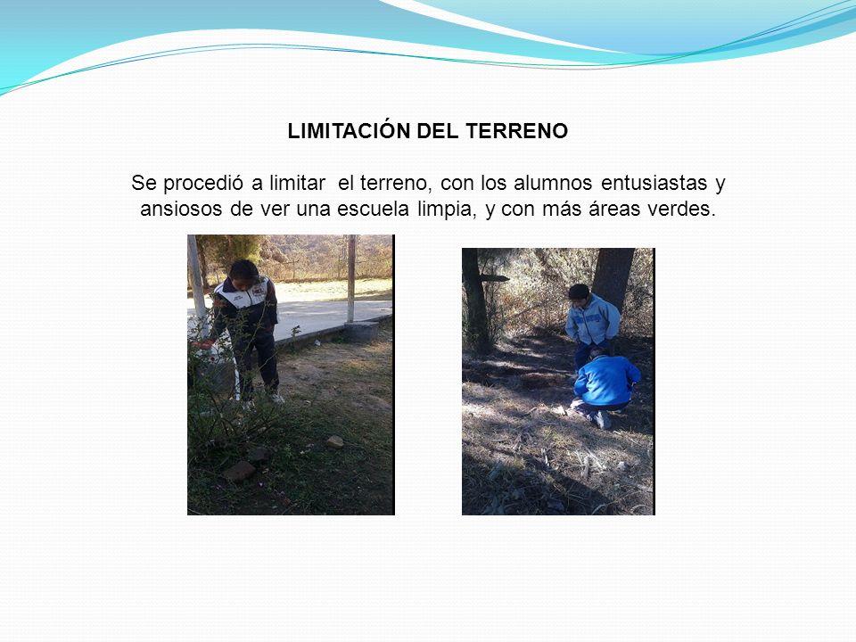 LIMITACIÓN DEL TERRENO Se procedió a limitar el terreno, con los alumnos entusiastas y ansiosos de ver una escuela limpia, y con más áreas verdes.