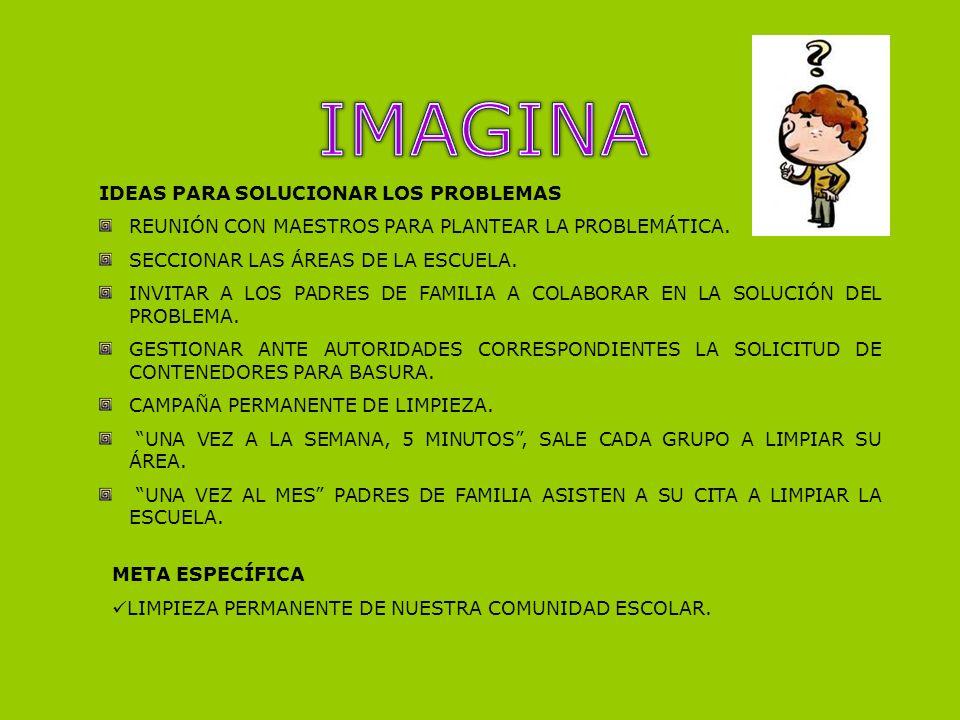 IDEAS PARA SOLUCIONAR LOS PROBLEMAS REUNIÓN CON MAESTROS PARA PLANTEAR LA PROBLEMÁTICA. SECCIONAR LAS ÁREAS DE LA ESCUELA. INVITAR A LOS PADRES DE FAM