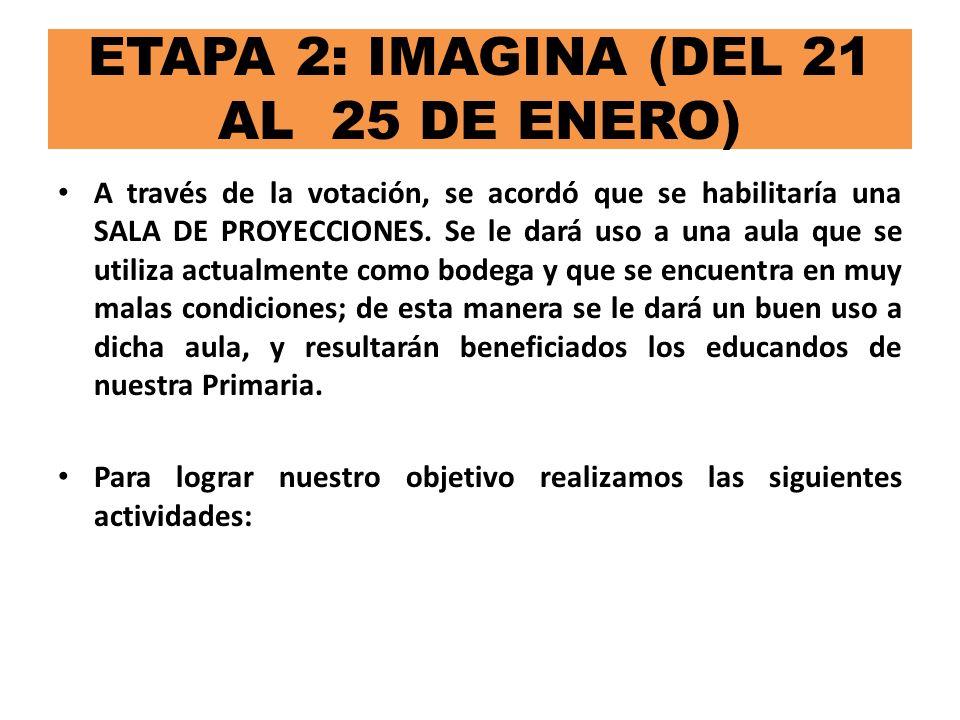 ETAPA 2: IMAGINA (DEL 21 AL 25 DE ENERO) Se realizó un cronograma de actividades para determinar los pasos a seguir en la ejecución del proyecto.