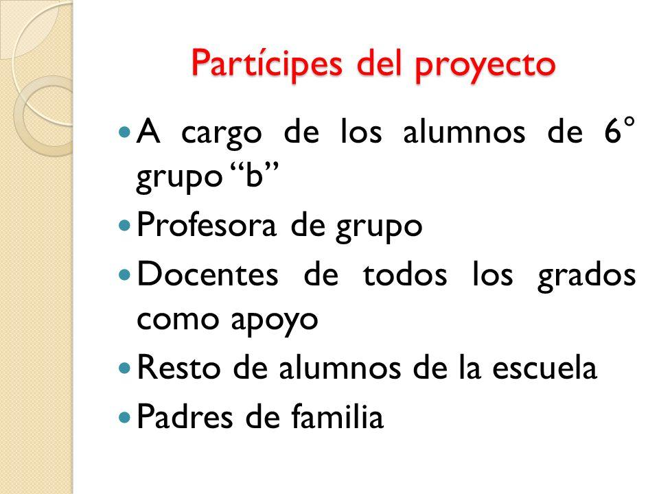 Partícipes del proyecto A cargo de los alumnos de 6° grupo b Profesora de grupo Docentes de todos los grados como apoyo Resto de alumnos de la escuela