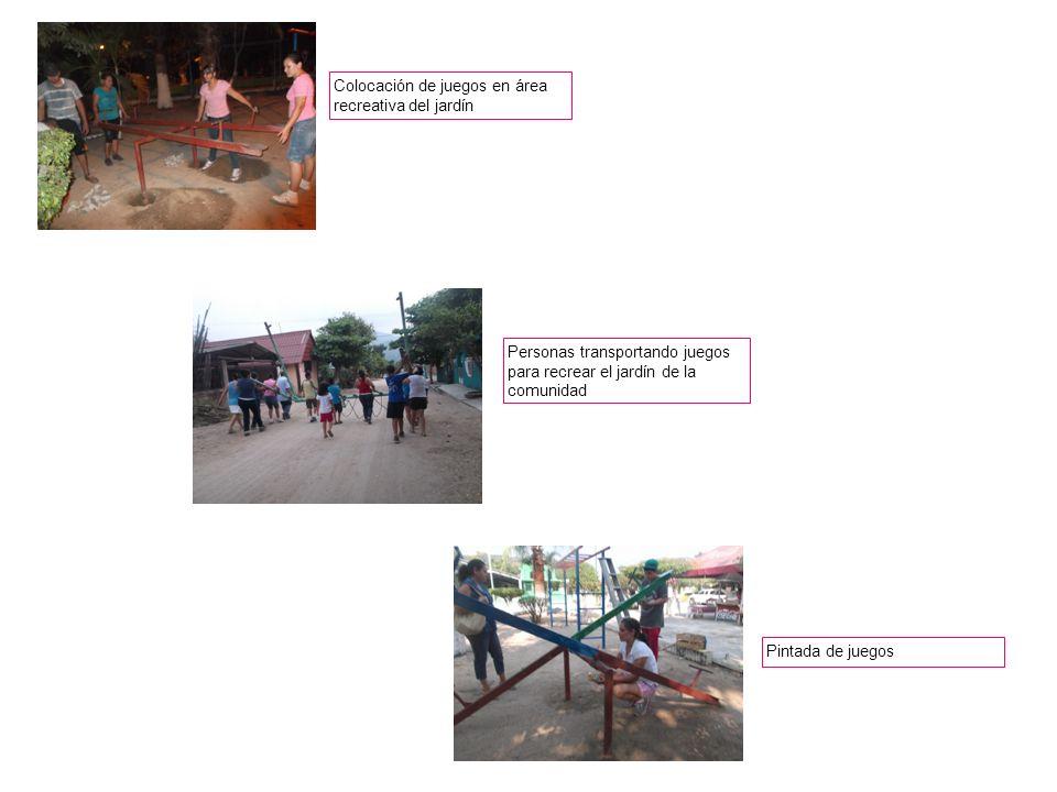 Pintada de juegos Colocación de juegos en área recreativa del jardín Personas transportando juegos para recrear el jardín de la comunidad